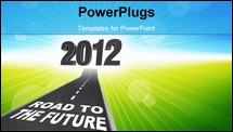 PowerPoint Template - The year 2012 in big 3d illustrated numbers and a road leading to it featuring the words Road to the Future symbolizing the start of a new year
