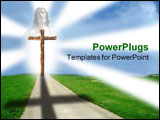 PowerPoint Template - A path leading up to a wooden cross with light shining around it