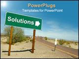 PowerPoint Template - Solution road sign on the desert road.