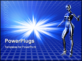 PowerPoint Template - Blue robot with technical background