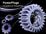 PowerPoint Template - 3d Render of robots with gear mechanism