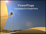 PowerPoint Template -  rock climber rappelling past an overhang in Joshua Tree National Park California on a summer eveni