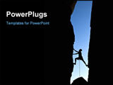 PowerPoint Template - ock climber silhouetted as he climbs up a chimney in Joshua Tree National Park California on a summ