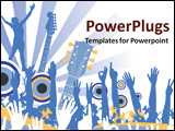 PowerPoint Template - Hands in the air with guitars and circles for speakers