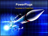 PowerPoint Template - Digital illustration of rocket in colour background