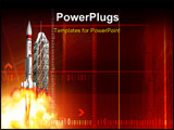 PowerPoint Template - Digital illustration of a rocket launching from platform