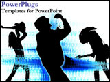 PowerPoint Template - Sillouhettes of singers and dancers over blue energy.