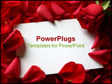 PowerPoint Template - Card and roses isolated on white background with message card