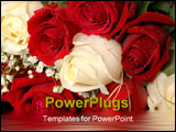 PowerPoint Template - bouquet of red and white roses in water glistening with water droplets