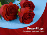 PowerPoint Template - Three dark red roses with drops are on the blue one