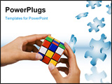 PowerPoint Template - close up of hands on people playing rubik cube.