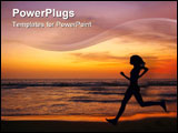 PowerPoint Template - jogging at sunset on double six beach seminyak bali indonesia.