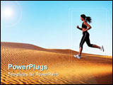PowerPoint Template - a woman running on the sand dunes