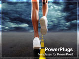 PowerPoint Template - Woman jogging on a stormy day with dark clouds