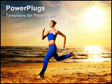 PowerPoint Template - Beautiful young woman running on a beach at sunset