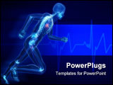 PowerPoint Template - 3d rendered illustration of a running skeleton with highlighted heart