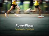 PowerPoint Template - marathon runners with motion blur and room for copy