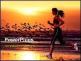 PowerPoint Template - woman running on the beach and sunset
