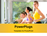 PowerPoint Template - Running on treadmill in gym or fitness club - group of women and men exercising to gain more fitness