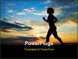 PowerPoint Template - sunset. a woman running on the beach
