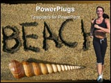 PowerPoint Template - beach written in the sand and spiral seashell