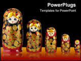 PowerPoint Template - Russian nesting dolls ( babushkas or matryoshkas ) isolated on white background