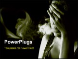 PowerPoint Template - Portrait of sad woman smoking in the darkness