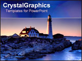 PowerPoint Template - Beautiful lighthouse on cliff.