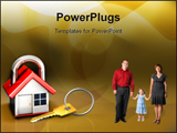 PowerPoint Template - d illustration of a simple house designed to look like a padlock with a brass metallic key sitting
