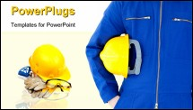 PowerPoint Template - Safety gear kit close up over white