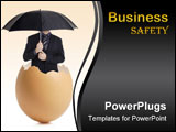 PowerPoint Template - Man with an umbrella hatching out of an eggshell