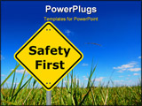 PowerPoint Template - safety first sign and copy space for text message