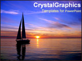 PowerPoint Template - Sillhouette of sailboat on ocean.