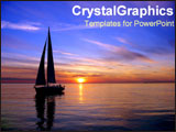 PowerPoint Template - Sillhouette of sailboat on dark sunset water.
