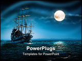 PowerPoint Template - Sailing ghost ship on the high seas in the night. Flying Dutchman by the Moon light