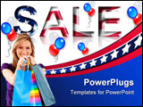 PowerPoint Template -  Sale sign for any patriotic holiday such as 4th of July, Memorial Day, Veteran