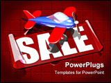 PowerPoint Template - d illustration of a red and blue plastic toy airplane sitting on top of a large transparent SALE st