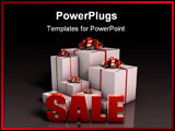PowerPoint Template - Sale Sign with Gift Boxes in 3d