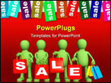 PowerPoint Template - Four puppets with red packages on sale