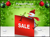 PowerPoint Template - Cute christmas snowman holding a card text can be inserted.