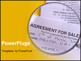 PowerPoint Template - magnifying glass, focused on agreement for sale