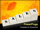 PowerPoint Template - Stack of increasing blocks showing the word SALES isolated on white background