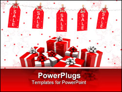 PowerPoint Template - Pre or post Christmas sale - tags on a silver glitter string line with fancy pegs with stars.