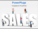 PowerPoint Template - Beautiful shopping women around the word sales isolated