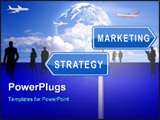 PowerPoint Template - 2 way signpost for strategy and marketing