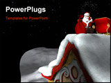 PowerPoint Template - santa using magic to go down a chimney with his bag of gifts.