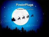PowerPoint Template - Illustration of Santa driving his sleigh with reindeer