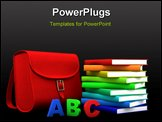 PowerPoint Template - red satchel and stack of colorful books - 3d illustration/rendering