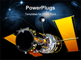 PowerPoint Template - ew silver telecommunication satellite in the space ** Note: Slight graininess, best at smaller size