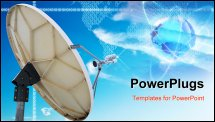 PowerPoint Template - The satellite dish antennas under blue sky